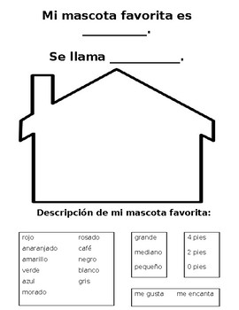 Spanish My Favorite Pet Activity / Mi mascota favorita