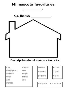 Spanish My Favorite Pet Activity / Mi mascota favorita