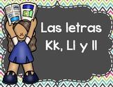 Actividades Con Las Letras K, L, y ll - Spanish Activities Letters K, L, &  ll