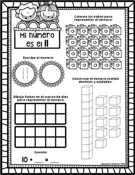 Mi número es (números del 10 al 20) (Spanish teen numbers)