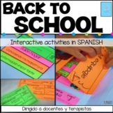 Back to school activities | Interactive notebook | First day of school | SPANISH