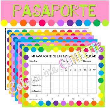 Mi pasaporte de las tablas de multiplicar - Colour me Confetti