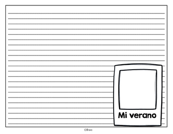 Mi verano writing template