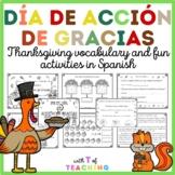 Mi vocabulario Día de Acción de Gracias –Thanksgiving work