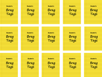 MiMi Sue's Brag Tags FREEBIE Bright Yellow (Student Name) SWAG