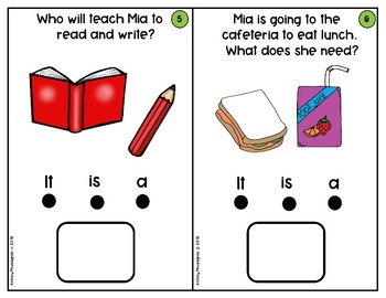 Mia's First Day of School- WH Questions Interactive Book