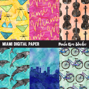 Miami Watercolor Digital Paper