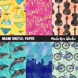 Miami Watercolor Digital Paper