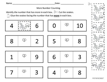 Mice Counting 1-10 & More/Greater Than Act. Worksheets Eng & Spanish
