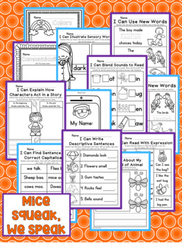 Mice Squeak, We Speak Kindergarten NO PREP Supplemental Printables