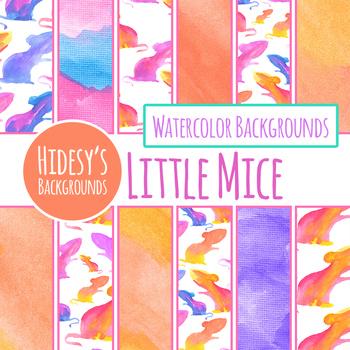 Mice Watercolor Hand Painted Digital Papers / Backgrounds Clip Art