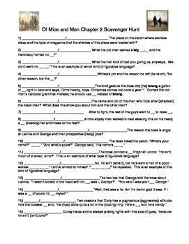 Of Mice and Men Chapter by John Steinbeck 2 Scavenger Hunt for Information