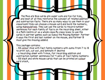 Fact Family Cards - Mice are Nice!