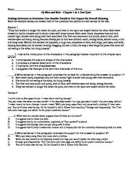 Mice of Men Chapters 1&2 PARCC CCSS Aligned Quiz/Test w/ Key