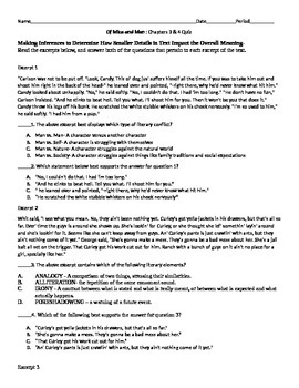 Mice of Men chapters 3 &4 PARCC and CCSS Aligned Quiz w/ Key