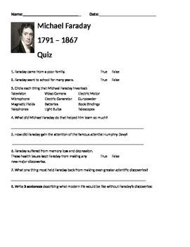 Michael Faraday Quiz (goes with Cosmos season 1 episode 10)