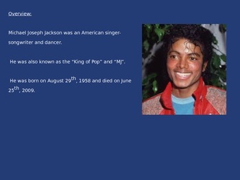 Michael Jackson - Life History Music - Power Point Facts Info pictures