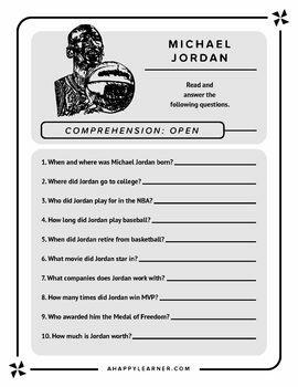 Michael Jordan Speech Therapy Reading & Language Activities