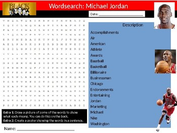 Michael Jordan Wordsearch Black History Month Keywords Settler Homework Cover