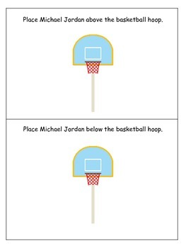 Michael Jordan themed Positional Cards preschool learning game.  Daycare game.