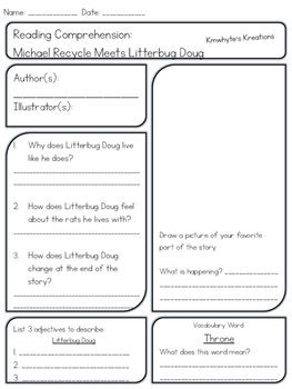 Michael Recycle & Michael Recycle Meets Litterbug Doug - Comprehension Sheets