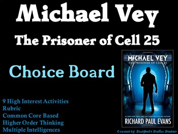 Michael Vey The Prisoner of Cell 25 Choice Board Novel Study Activities Project