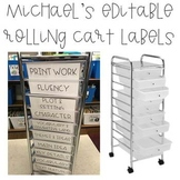 Michael's 10 Drawer Rolling Cart Labels (Editable)