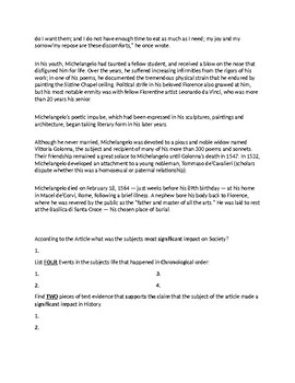 Michelangelo Biography Article and Assignment Worksheet