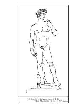 michelangelo david coloring page and lesson plan ideas tpt