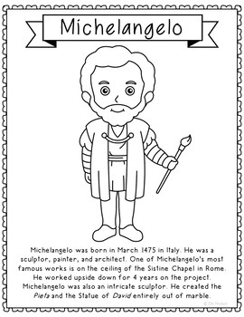 Michelangelo Famous Artist Informational Text Coloring Page Craft Or