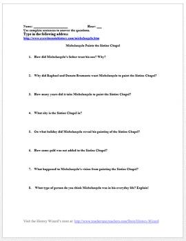Renaissance: Michelangelo Paints the Sistine Chapel Primary Source Worksheet