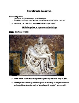 Michelangelo--Renaissance-17 pgs, Images,Wksht/key/Companion to my Jeopardy game