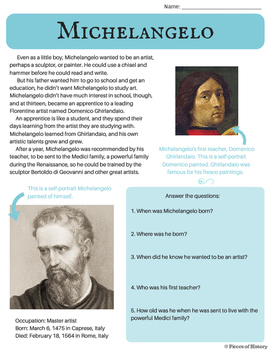 Michelangelo: Renaissance Artist {A no-prep packet for 3rd, 4th and 5th grade}