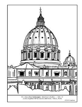 Michelangelo. Saint Peter's Basilica.  Coloring page & lesson ideas