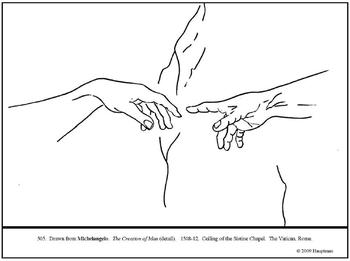 Michelangelo. The Creation of Man. Coloring page and lesson plan ideas