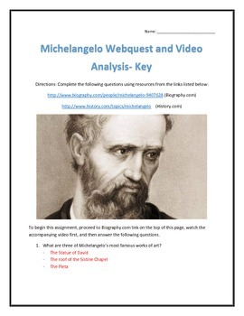 Michelangelo- Webquest and Video Analysis with Key