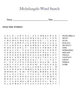 Michelangelo Word Search