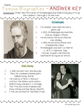 FREEBIE Michelangelo and Disney Biographies & Order Life Events Activity