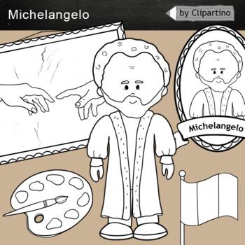 Michelangelo clipart  BW - Artists Clip Art