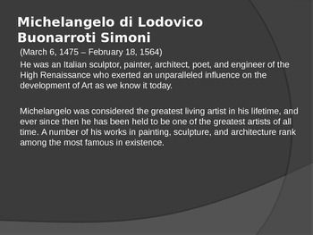 Michelangelo/Henry Moore Power Point