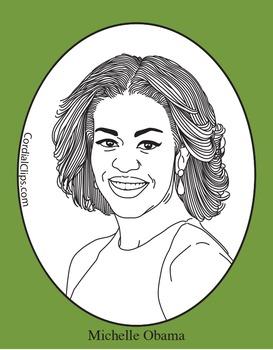 Michelle Obama Clip Art, Coloring Page or Mini Poster