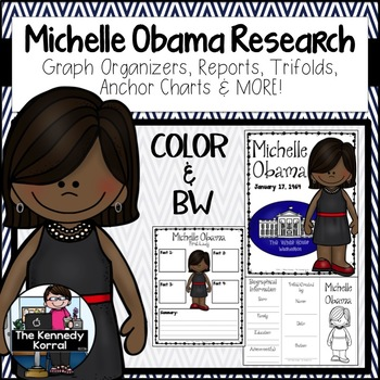 Michelle Obama Biography Research Bundle {Report, Trifold,