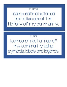 Michigan 2nd Grade Social Studies Standards GLCE I can Statements