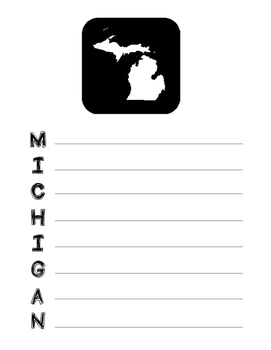 Michigan State Acrostic Poem Template, Project, Activity, Worksheet