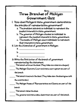 Michigan Branches of Government Quiz
