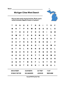 Michigan Cities Word Search (Grades 3-5)