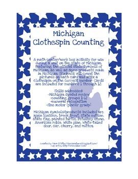 Michigan Clothespin Counting Activity