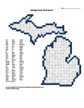 Michigan Counties Word Search