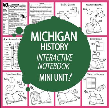 Michigan History–Interactive Notebook Michigan State Study Unit + AUDIO!
