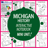 Michigan History State Study Interactive Notebook Unit + AUDIO